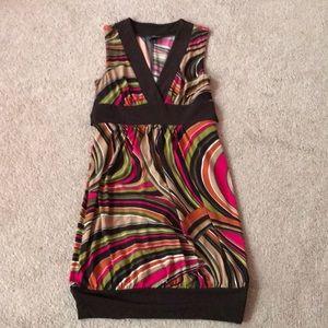 Small Brown, pink, green short sleeveless dress